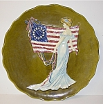"Click here to enlarge image and see more about item MJ019: 15"" Unitied States Centennial Majolica Plate"