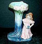 "6"" Majolica GIrl in Pink Dress Vase"