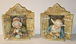 Click to view larger image of Majolica Figural Wall Plaques (Pair) (Image1)