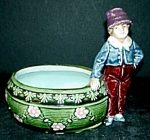 Click here to enlarge image and see more about item MJ109: Majolica Boy Candy Dish