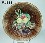 Click here to enlarge image and see more about item MJ111: Majolica Fruit on Basketweave Bowl