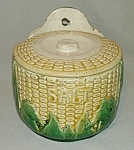 Click here to enlarge image and see more about item MJ117: Brush Majolica Corn Salt Box w/Lid