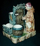Click here to enlarge image and see more about item MJ122: Majolica Monk Figural Humidor
