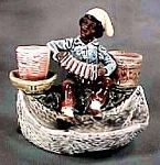 "Click here to enlarge image and see more about item MJ195: Majolica ""Black Boy "" Match Holder/Striker"