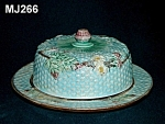 Click here to enlarge image and see more about item MJ266: Majolica Berry Blossoms Butter Dish with Lid