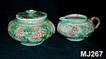Majolica Sugar w/Lid and Creamer