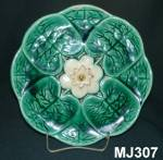 "Click to view larger image of 8 3/4"" Majolica ""Water Lilly"" Plate (Image1)"