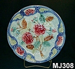 """Click to view larger image of Majolica """"Rose"""" Plate (Image1)"""