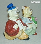 "Click here to enlarge image and see more about item ND048: Pig ""Bride and Groom"" S&P Shaker Nodders"