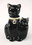 Click here to enlarge image and see more about item ND073: Black Cat w/Kitten Salt & Pepper Shaker Nodders