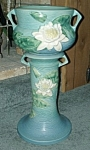 """Roseville """"Water Lily"""" Jardiniere & Pedestal.  The jardiniere marked in relief with, """"Roseville USA 663-8"""".  The total height is 24 1/2"""".  Circa: 1940's.  It is in excellent c..."""