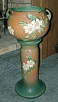 """Roseville """"White Rose"""" Jardiniere & Pedestal.  The jardiniere is marked in relief, """"Roseville USA 653-8"""".  The total height is 25"""".  Circa: 1940's.  Beautiful rich colors! Thi..."""