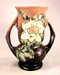 "Click here to enlarge image and see more about item RV030: 7"" Roseville Water Lily Vase"