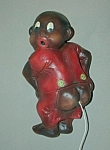 Click here to enlarge image and see more about item SH629: Vintage Black Boy in Red PJs String Holder