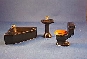 Black Corner Tub 3 Piece Bathroom Set