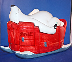 COCA COLA POLAR BEAR ON SLED COOKIE JAR (Image1)