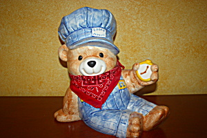 Conductor Bear Cookie Jar