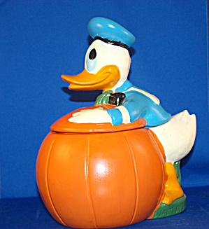 Donald Duck On Pumpkin Cookie Jar