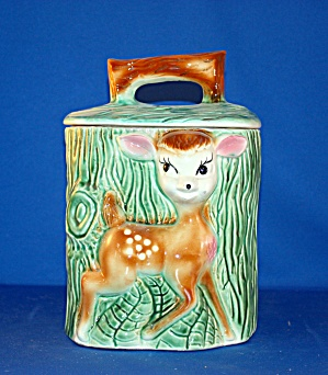 Deer By Stump Cookie Jar