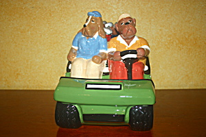 Dogs In Golf Cart Cookie Jar