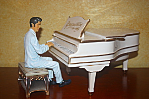Elvis On White Grand Piano Cookie Jar