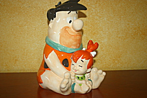 Fred And Pebbles Sitting Together Cookie Jar