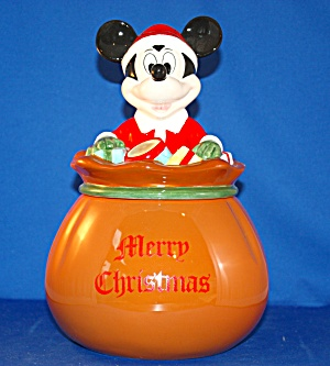 Mickey Christmas Sack Of Toys Cookie Jar