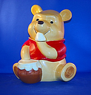 Pooh Eating Out Of Honey Pot Cookie Jar Rare