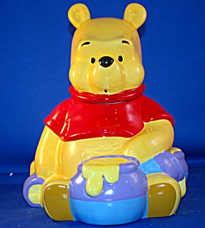 Pooh Sitting With Honey Pots Cookie Jar