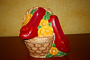 Ruby Slippers In Basket Cookie Jar