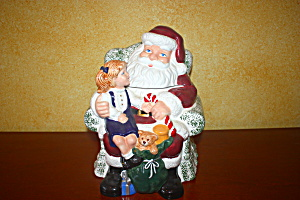 Santa With Little Girl On His Lap Cookie Jar