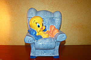 Tweety On Blue Chair Cookie Jar