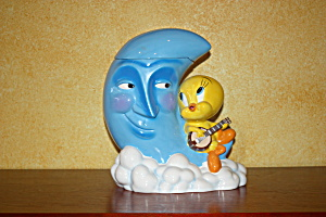 Tweety Sitting On The Blue Moon Cookie Jar