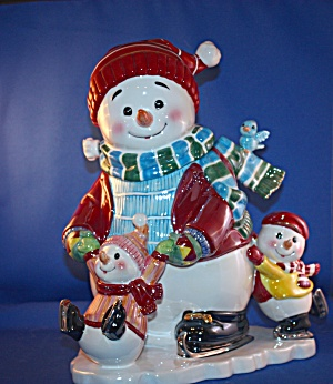 Waterford Musical Holiday Snowman Cookie Jar
