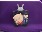 Click here to enlarge image and see more about item 1008: PORKY PIG IN TV COOKIE JAR