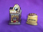 Click here to enlarge image and see more about item 2012: CORNUCOPIA SLOT MACHINE SALT & PEPPER