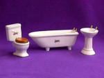 Click here to enlarge image and see more about item 5008: WHITE BATHROOM 3 PC SET