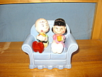 Click here to enlarge image and see more about item FSP2002: CHARLIE BROWN & LUCY ON SOFA S & P