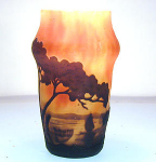 Click here to enlarge image and see more about item daumsailboat: Daum Cameo Glass Scenic Sailboat Vase, C.1900