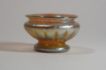 Click here to enlarge image and see more about item FootedSalt: Tiffany Studios Gold Salt, Round Foot