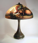 Click here to enlarge image and see more about item Handel6319: Handel 18 inch Reverse Painted Scenic Lamp