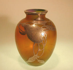 Click here to enlarge image and see more about item loetzoverlay: Loetz glass vase with sterling overlay C.1900
