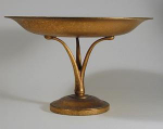 Click here to enlarge image and see more about item Tiff7InchCompote: Tiffany Studios Bronze Tripod Compote, Signed