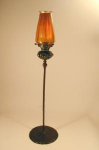 Click here to enlarge image and see more about item TiffCandlestickGlassFavrile: Tiffany Bronze & Favrile Candlestick