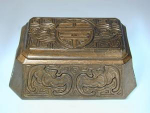 Click here to enlarge image and see more about item TiffChineseBox: Tiffany Studios Stamp Box:  Chinese Pattern