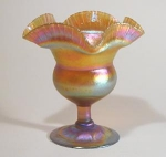 Click here to enlarge image and see more about item TiffGoldFloriformVase: Tiffany Studios Favrile Flower Form Vase