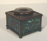 Click here to enlarge image and see more about item TiffGrapeInk: Tiffany Studios Inkwell:  Grapevine Pattern