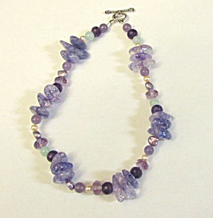 Amethyst and Glass Bead Necklace (Image1)