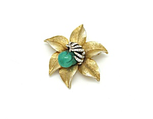 Flower Brooch With Glass (Image1)