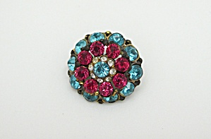 Czech Pink and Blue Rhinestone Pin (Image1)